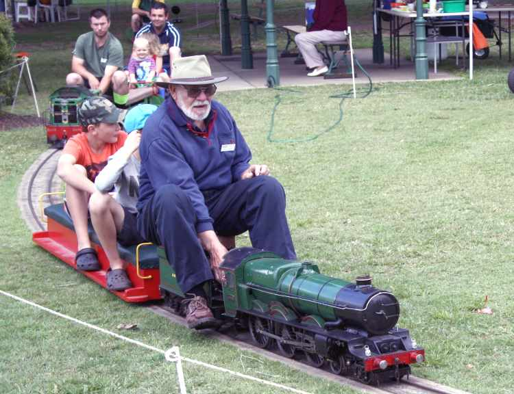 Miniature trains in operation in Queens Park in Maryborough Qld